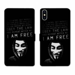Housse cuir portefeuille Samsung Galaxy A10 Anonymous I am free