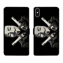 Housse cuir portefeuille Samsung Galaxy A10 Anonymous Gun