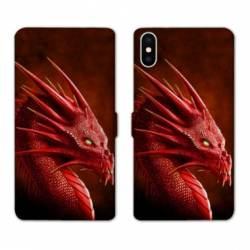 Housse cuir portefeuille Samsung Galaxy A10 Dragon Rouge