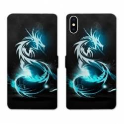 Housse cuir portefeuille Samsung Galaxy A10 Dragon Bleu
