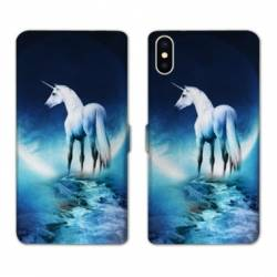 Housse cuir portefeuille Samsung Galaxy A10 Licorne Lune