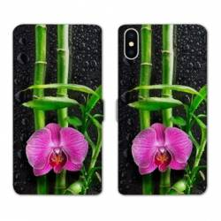 Housse cuir portefeuille Samsung Galaxy A10 orchidee bambou