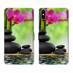 Housse cuir portefeuille Samsung Galaxy A10 orchidee eau