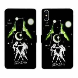 Housse cuir portefeuille Samsung Galaxy A10 signe zodiaque Gémeaux