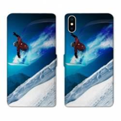 Housse cuir portefeuille Samsung Galaxy A10 Snowboard saut
