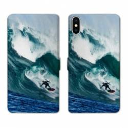 Housse cuir portefeuille Samsung Galaxy A10 Surf vague