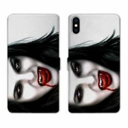 Housse cuir portefeuille Samsung Galaxy A10 Vampire blanc