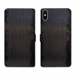 Housse cuir portefeuille Samsung Galaxy A10 Texture metal