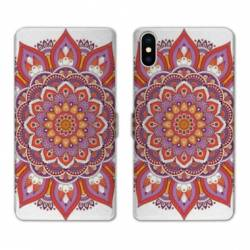 Housse cuir portefeuille Samsung Galaxy A10 Etnic abstrait Rosas orange