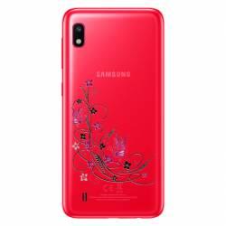 Coque transparente Samsung Galaxy A10 feminine fleur papillon