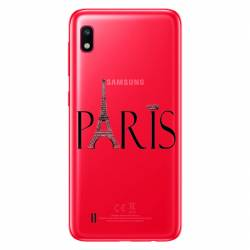 Coque transparente Samsung Galaxy A10 Paris noir