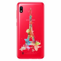 Coque transparente Samsung Galaxy A10 Tour eiffel colore