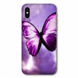 Coque Wiko Y80 papillons violet et blanc