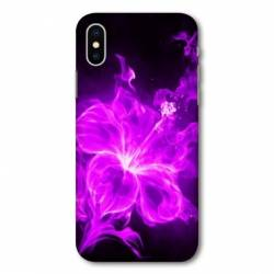 Housse cuir portefeuille Huawei Y5 (2019) fleur hibiscus violet