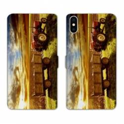 Housse cuir portefeuille Huawei Y5 (2019) Agriculture Tracteur color