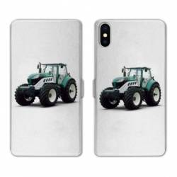 Housse cuir portefeuille Huawei Y5 (2019) Agriculture Tracteur Blanc