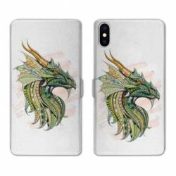 Housse cuir portefeuille Huawei Y5 (2019) Ethniques Dragon Color