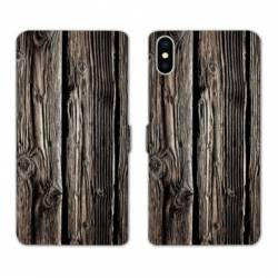 Housse cuir portefeuille Huawei Y5 (2019) Texture bois