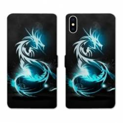 Housse cuir portefeuille Huawei Y5 (2019) Dragon Bleu