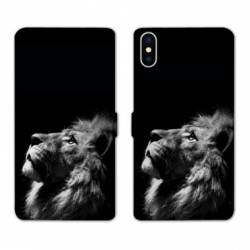 Housse cuir portefeuille Huawei Y5 (2019) roi lion