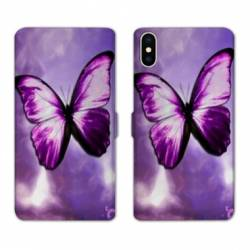 Housse cuir portefeuille Huawei Y5 (2019) papillons violet et blanc