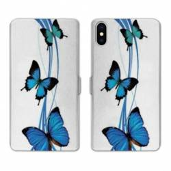 Housse cuir portefeuille Huawei Y5 (2019) papillons bleu