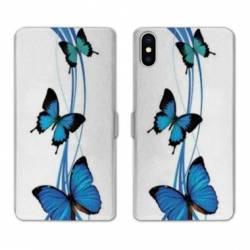 Housse cuir portefeuille Huawei Y5 (2019) papillons bleu