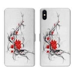 Housse cuir portefeuille Huawei Y5 (2019) fleur épine