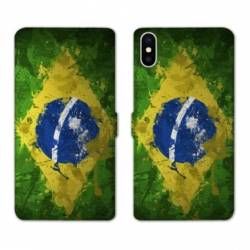 Housse cuir portefeuille Huawei Y5 (2019) Bresil texture