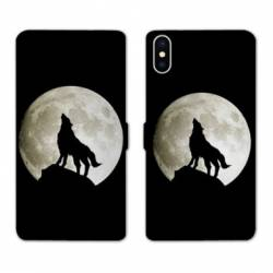Housse cuir portefeuille Huawei Y5 (2019) Loup Noir