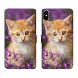 Housse cuir portefeuille Huawei Y5 (2019) Chat Violet