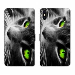 Housse cuir portefeuille Huawei Y5 (2019) Chat Vert