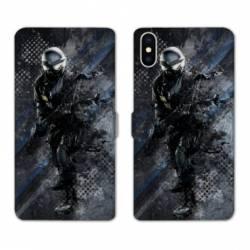 Housse cuir portefeuille Huawei Y5 (2019) police swat