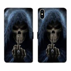 Housse cuir portefeuille Huawei Y5 (2019) tete de mort Doigt