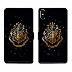Housse cuir portefeuille Huawei Y5 (2019) WB License harry potter pattern Poudlard