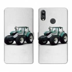 Housse cuir portefeuille Samsung Galaxy A20e Agriculture Tracteur Blanc