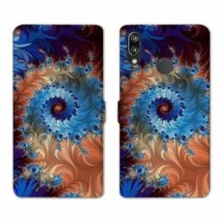 Housse cuir portefeuille Samsung Galaxy A20e Psychedelic Spirale