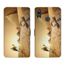 Housse cuir portefeuille Samsung Galaxy A20e Egypte Chameau