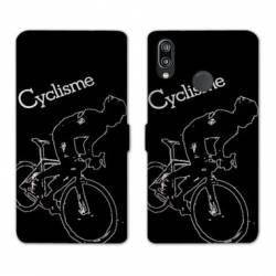 Housse cuir portefeuille Samsung Galaxy A20e Cyclisme Ombre blanche