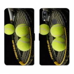 Housse cuir portefeuille Samsung Galaxy A20e Tennis Balls