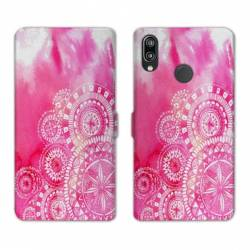 Housse cuir portefeuille Samsung Galaxy A20e Etnic abstrait Bouclier rose
