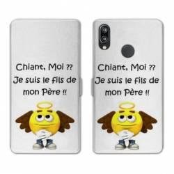 Housse cuir portefeuille Samsung Galaxy A20e Humour Moi chiant