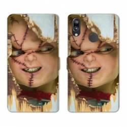 Housse cuir portefeuille Samsung Galaxy A20e Chucky Blanc
