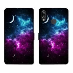 Housse cuir portefeuille Samsung Galaxy A20e Univers Bleu violet