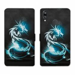 Housse cuir portefeuille Samsung Galaxy A20e Dragon Bleu