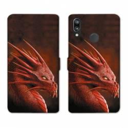 Housse cuir portefeuille Samsung Galaxy A20e Dragon Rouge