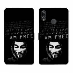 Housse cuir portefeuille Samsung Galaxy A20e Anonymous I am free