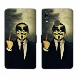 Housse cuir portefeuille Samsung Galaxy A20e Anonymous doigt