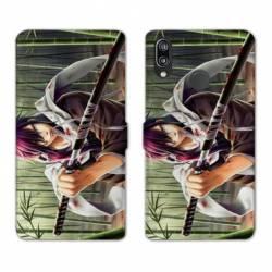 Housse cuir portefeuille Samsung Galaxy A20e Manga bambou