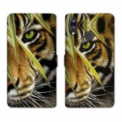 Housse cuir portefeuille Samsung Galaxy A20e œil tigre